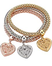 Women Alloy Bangle Bracelet with Hearts Charms