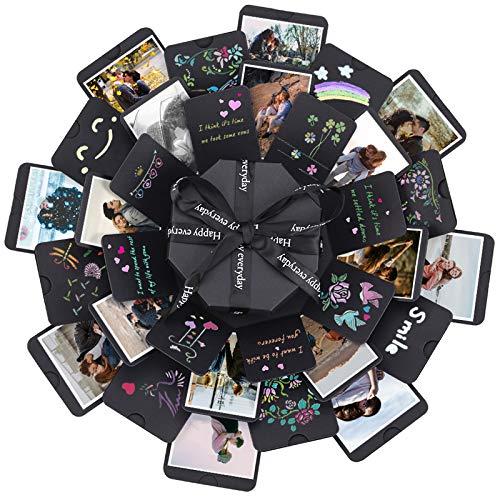ZEEYUAN Explosion Box,Creative DIY Álbum de Fotos Caja de Regalo de Explosión Creativa como Regalo de Cumpleaños Aniversario Boda San Valentín Día de la Madre Navidad