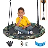 Clevr 40' Round Outdoor Saucer Tree Kids Net Swing Set | Detachable 360 Degree Spin Swivel Hanging Hardware | Adjustable 71' Height Rope - 600 lbs Weight Limit, Camo