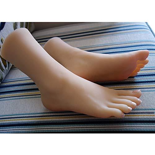 Simulation Silikon Weibliche Fuß Modell, Schuhe Socken Schmuck Knöchel Kette Schießen Display Requisiten, Pediküre Malerei Lehre Strümpfe 1: 1,Fullglue,Left