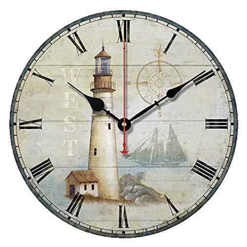 S.W.H Klassische Leuchtturm-Wanduhr, Quarzuhrwerk, römische Ziffern, batteriebetrieben, runde Uhr für Wohnzimmer, 25,4 cm