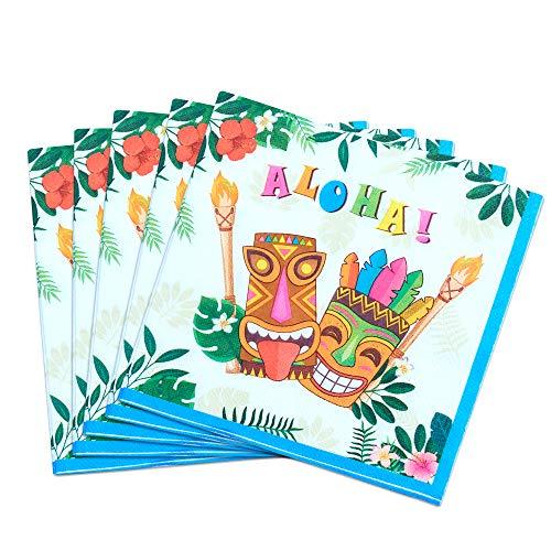 WERNNSAI Hawaiano Luau Articoli per Feste - 50 Pezzi Tiki Tropicale Aloha Tovaglioli per Feste 3-Ply Tovaglioli di Carta Pranzo per Festa in Compleanno Estate Piscina Spiaggia