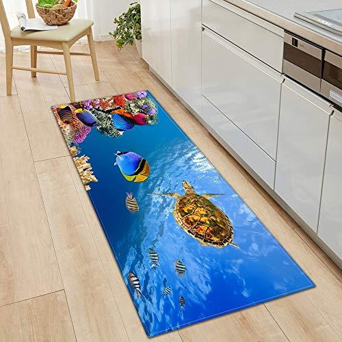 HLXX Alfombra de Piso de Cocina Ocean World Alfombra de Sala de Estar Alfombra de Puerta de casa Decoración de Piso de Dormitorio Alfombra Antideslizante de baño A8 50x80cm
