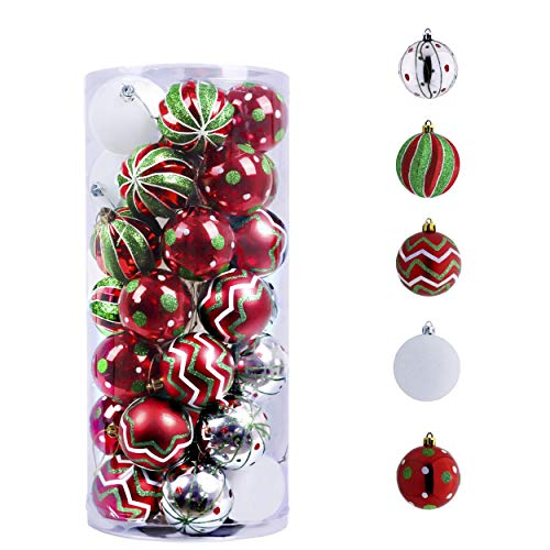 Valery Madelyn 35ct 70mm Classic Collection Splendor Red Green White Christmas Ball Ornaments, Shatterproof Xmas Balls for Christmas Tree Decoration, Themed with Tree Skirt (Not Included)