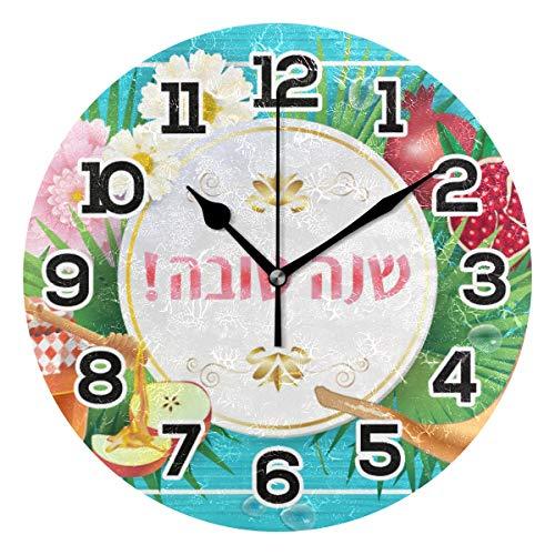 BONIPE Rosh Hashanah Grußkarte Gänseblümchen Honig Wanduhr geräuschlos Acryl 23,9 cm Home Deko Büro Schule Runde Uhr Kunst