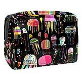 Bolsa de Maquillaje Medusas pintadas de Colores Bolsa Cosmetica Portátil Viaje de Maquillaje Organizador Bolsa de Almacenamiento de Maquillaje 18.5x7.5x13cm