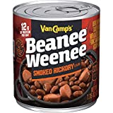 VAN CAMP'S Smoked Hickory Beanee Weenee, Hickory Beans & Hot Dogs, 7.75 oz. (Pack of 24)...