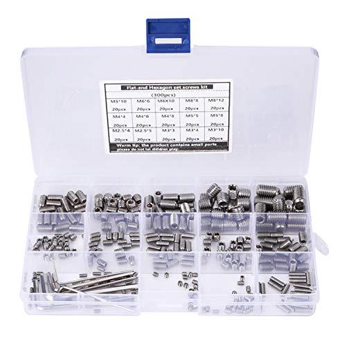 Kit de tornillos hexagonales de 300 piezas, combinación de acero inoxidable 304 en caja con 6 sujetadores de llave, kit de tornillos de acero inoxidable Kit de tornillos de tornillos, sujetadores