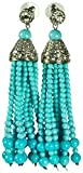 KENNETH JAY LANE, TASSEL & PAVE CRYSTAL12 STRAND EARRING, CHOOSE: RED, GREEN, BLACK, PEARL, AND TURQUOISE (Turquoise/Clip)