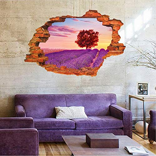wuyyii 3D gebroken muur mooi veld nacht landschap lavendel grasland liefde hart boom huis kamer decor verwijderbare muur sticker sticker D