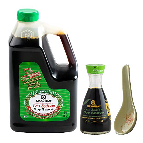 Kikkoman Less Sodium Soy Sauce, 2 qt | Refillable Bottle Dispenser, 5 fl oz | Wonton Soup Spoon | Lite, Low Sodium
