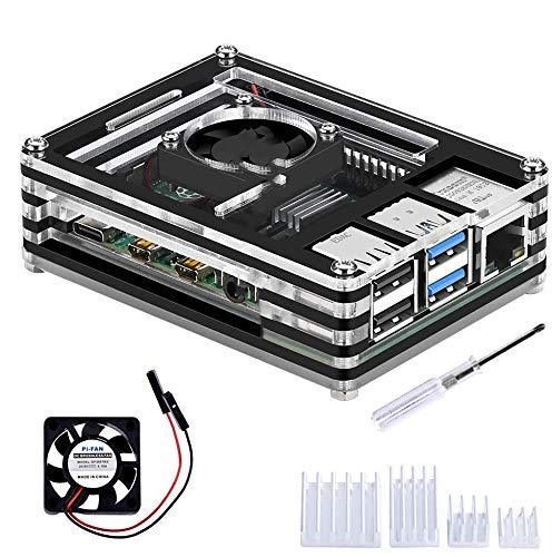 GeeekPi Cajas Acrílico para Raspberry Pi 4 Modelo B, Estuche Raspberry Pi 4B con Ventilador de Refrigeración y 4pcs disipadores de Calor para Raspberry Pi 4 Modelo B (Solo para Pi 4) (Negro y Claro)