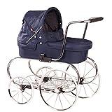 Götz 3402877 Carrozzina per bambola classica colore blu con 4 ruote - adatta per tutte le bambole alte fino a 50 cm - per bambini dai 3 anni in su