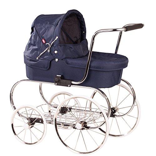 Götz 3402877 Classic 4-rädriger klassischer Puppenwagen in blau - passend für alle Puppen bis 50 cm - geeignet für Kinder ab 3 Jahren
