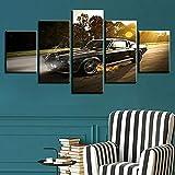 JJJKK Cuadro sobre Lienzo - 5 Piezas - Cuadro en Lienzo 5 Piezas - Car Sports Luxury Classic Vintage F1 Racing - Listo para Colgar - Obra De Arte Cartel - en un Marco