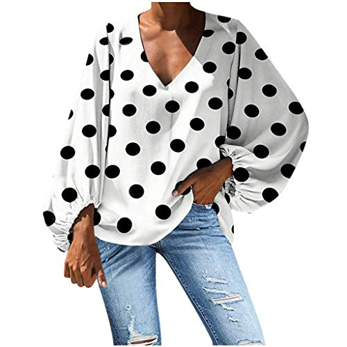 NANTE Top Women's Blouse Casual V-Neck Polka Dot Print Lantern Sleeve Loose T-Shirt Fashion Baggy Tops Ladies Oversize Blouses Costume (White, L)