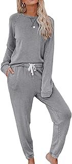 Mujer Hogar Ocio Conjunto de Dos Piezas con Mangas largas y Pantalones Diseño de cordón de Color Liso Ropa de Estilo Simple