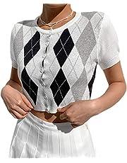Vrouwen Argyle Plaid Gebreide Y2k Fashion T-Shirt Crop Top Vest E-Girls jaren 90 Casual Jumper Vest Street Esthetische Kleding