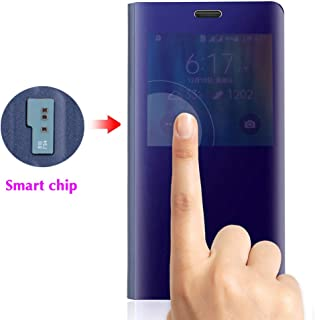Phone Case for Samsung Galaxy Note 4 Flip Folio Leather Cover with Screen Protector S Smart Chip Cell Accessories Slim Hard Mirror Cute Clear View Glaxay Note4 N910A Not Notes Women Girls Men Blue