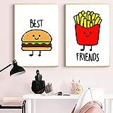 SNGTOW Best Friends Letters Impresiones en Lienzo y Carteles BFF Burger Fries Girls Cuadros artísticos de Pared Pinturas para Dormitorio Niños Guardería   30x40cmx2Sin Marco