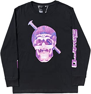 Vlone Long Sleeve Screw dissolves Purple Skull Print Big V Sweater for Men and Women