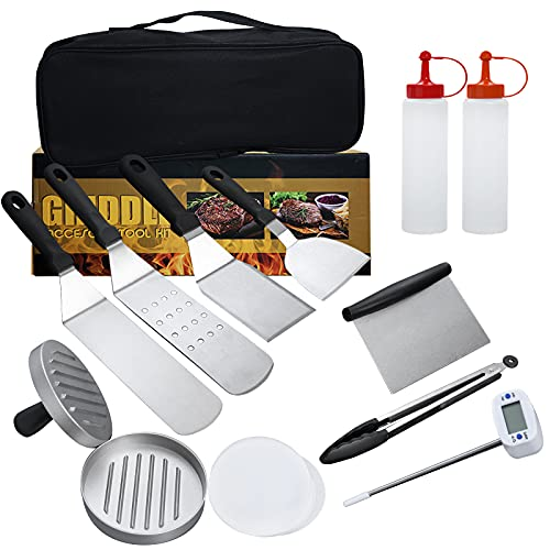 Griddle Accessories Barbecue Tool Sets for Blackstone and Camp Chef,Thicken Stainless Steel Flat Top Grill Accessories Kit with Meat Thermometer Burger Press Spatulas Scraper Tongs Bottle for BBQ Gift