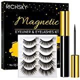 Richsky Magnetic Lashes and Eyeliner, 3D Reusable Natural Magnetic Eyelashes Waterproof Set with 10ml Upgraded Hypoallergenic Magnetic Eyeliner Kit