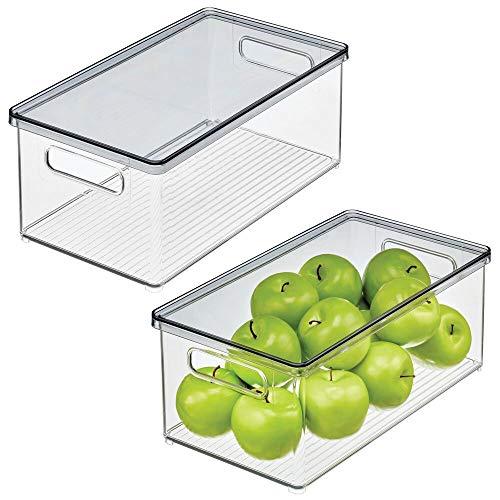 mDesign Caja organizadora de plástico para nevera – Recipiente para guardar alimentos con tapa – Organizador para nevera, cocina y despensa apto para alimentos – Juego de 2 – transparente/gris humo