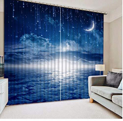 MUXIAND op maat gordijn verduisterend gordijn stof hemel blauwe maan Meteor douchegordijnen voor slaapkamer gordijn voor badkamer keuken