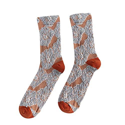 NUSGEAR Socken Frauen kreative Retro Plissee Pile Socken Patchwork Farbe lässig Baumwollsocken,Der Trend faltet kleinen Blumenmuster Retro Sen-Farbzusammenpassenden Stapel der roten Socken