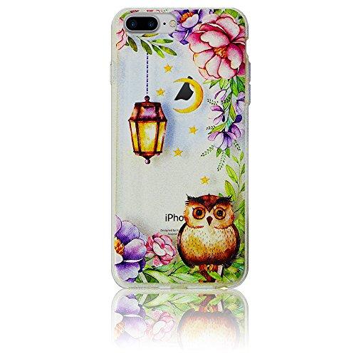 Xtra-Funky Custodia Compatibile con iPhone 7/8 Plus, Chiusura con Custodia in Silicone Sottile con Stampe di Animali e Cartoni Animati - Gufo & Luna Lanterna
