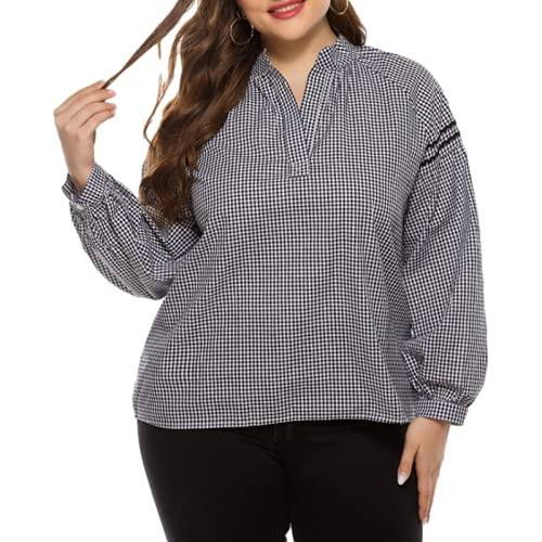 Maglietta da Donna con Scollo a V a Maniche Lunghe Pullover Moda Scozzese Splicing Trend Semplice Quotidiano Tempo Libero all-Match Basic Camicetta XXL