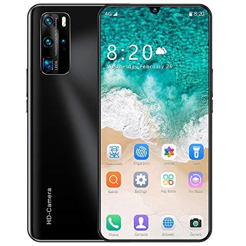 Smartphone ohne Vertrag p40, 4G LTE 7.5 Zoll Smartphone, 4GB RAM 64GB ROM, 4800mAh Akku, 8MP/16MPKamera, Dual SIM Handy Android 10.0, Face ID,Black