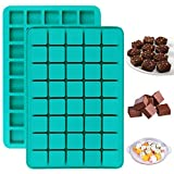 V-fox 2 Pack 40-Cavity Square Caramel Truffles Silicone Mold,Chocolate Hard Candy Molds, Grid Whiskey Ice Cube Tray,Pralines Gummy Jelly Mold
