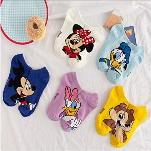 MIWNXM 10 Pares Disney Women Socks Cartoon Cotton Short Socks Happy Funny Harajuku Boat Socks Super Cute Kawaii Sock For Woman