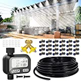 """homenote Automatic Misting Cooling System 98.2FT (30M) Misting Line +Timer+ 24 Brass Mist Nozzles + a Brass Splitter(3/4"""") Auto Outdoor Mister for Patio Garden Outdoor Cooling"""
