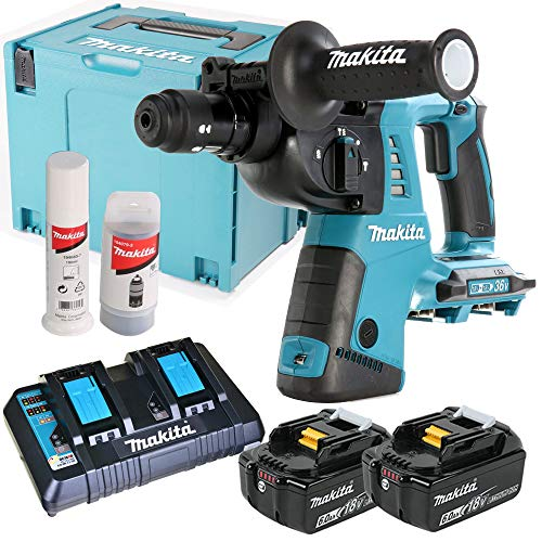 Makita DHR264ZJ 18V Twin SDS+ Hammer Drill with 2 x 6Ah Batteries, Charger & Case