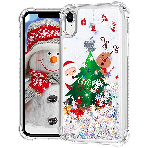 Ruky Christmas Case for iPhone XR Case, Glitter Liquid Flowing Bling Merry Christmas Pattern Soft TPU Fashion Cute Women Girls Children Case for iPhone XR (Christmas Tree)