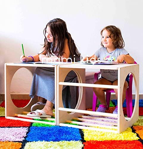 Mami – Cubo de Pikler | Estructura para escalada | Juego educativo para niños de madera con túnel y mesa | 100% fabricado en Italia | Color madera