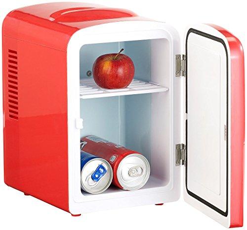 Rosenstein & Söhne Dosenkühlschrank: Mini-Kühlschrank mit Warmhalte-Funktion, 4 Liter, für 12/230 Volt, rot (Mini Kühlschrank für Dosen)