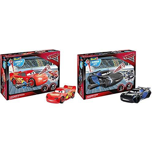 Revell Lightning McQueen Junior Kit - Disney Cars 3 - Cooler Bausatz für Kinder ab 4 Jahren zum Schrauben, Basteln & Sound Effekten - 00860 & Jackson Storm Junior Kit - Disney Cars 3