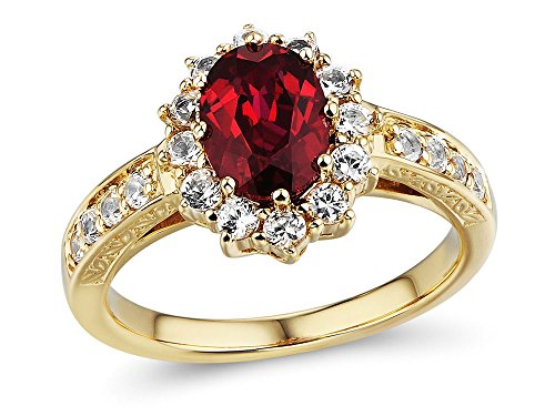 10k Yellow Gold Lab Created Ruby Ring with Lab Created White Sapphire Halo - Filigree Engraving - Ring Size 5