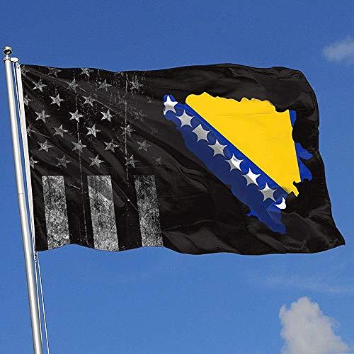 Elaine-Shop Abgenutzte Flaggen im Freien USA Flagge National Symbole von Bosnien und Herzegowina 4 * 6 Ft Flagge für Wohnkultur Sport Fan Fußball Basketball Baseball Hockey