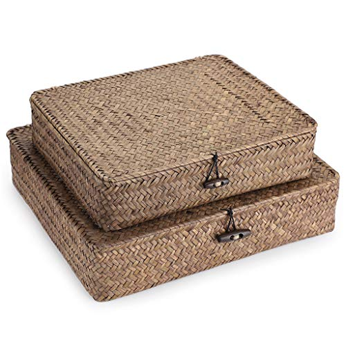 Hipiwe Set of 2 Flat Woven Wicker Storage Bins with Lid - Natural Seagrass Basket Boxes Multipurpose Home Organizer Bins Boxes for Shelf Organizer, Coffee
