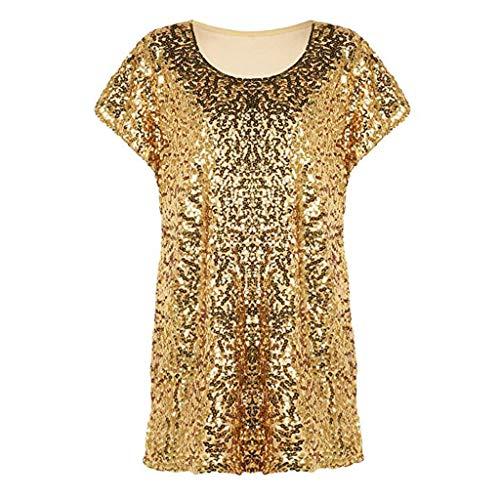 LANSKIRT_Gilets Chemise Été Manches Courtes❤,LANSKIRT Top à Paillettes Lâches Et Paillettées Brillantes T-Shirt Tunique à Manches Chauve-Souris pour Femmes