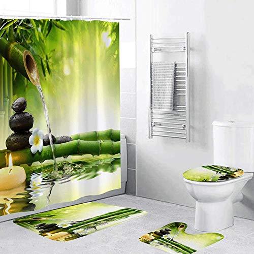 Minyose 3D Digitaldruck Vollpolyester Wasserdicht Duschvorhang Bodenmatte Toilettenmatte Badezimmer 4-Teiliges Set 180X180 cm