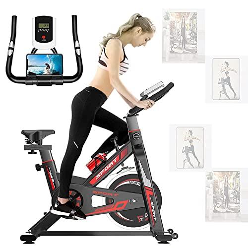 BOYH Bicicleta Estática para Ciclismo De Interior, Bicicleta De Ejercicio De Resistencia Magnética Ultra Silenciosa con Volante De 6KG/ Pantalla LED/Sensor De Pulso/Soporte para Botella