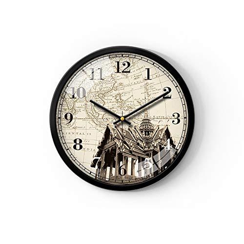 VBARV Klassische Retro-Wanduhr, Wanduhr mit Mehreren Zeitzonen, Weltzeituhr, Stadt- / Staats- / Landschild, große römische Ziffern und HD-Glas, ideal für Hotel und Büro