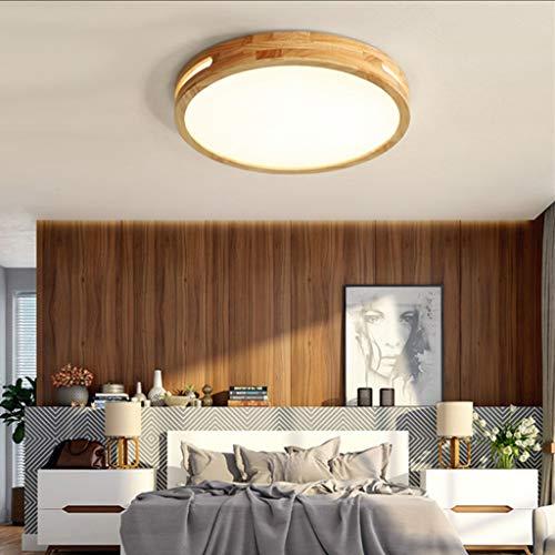 LED Deckenleuchte Holz Runde Deckenlampe Wohnzimmer Deckenbeleuchtung Schlafzimmer Hängeleuchte Esszimmer Leuchten für Hängelampe,30cmwarmlight