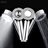 PAGALY Double-Sided Dual Function Shower Head Water Saving Round ABS Chrome Booster Bath